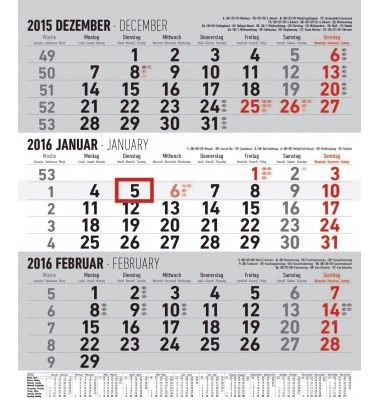 Wandkalender 3 Monate