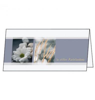 Trauerkarte mit Briefumschlag DIN lang Blumen