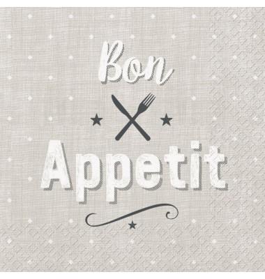 Servietten mit Aufdruck 'Bon Appetit'