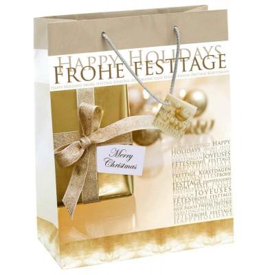 Goldene Geschenktaschen für Weihnachten