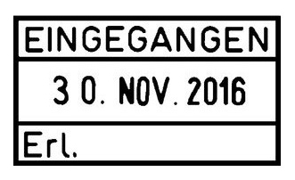 Lagertextstempel mit Datum