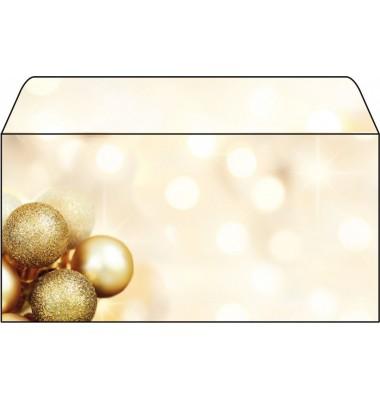 Briefumschlag Weihnachten DIN lang Christbaumkugeln