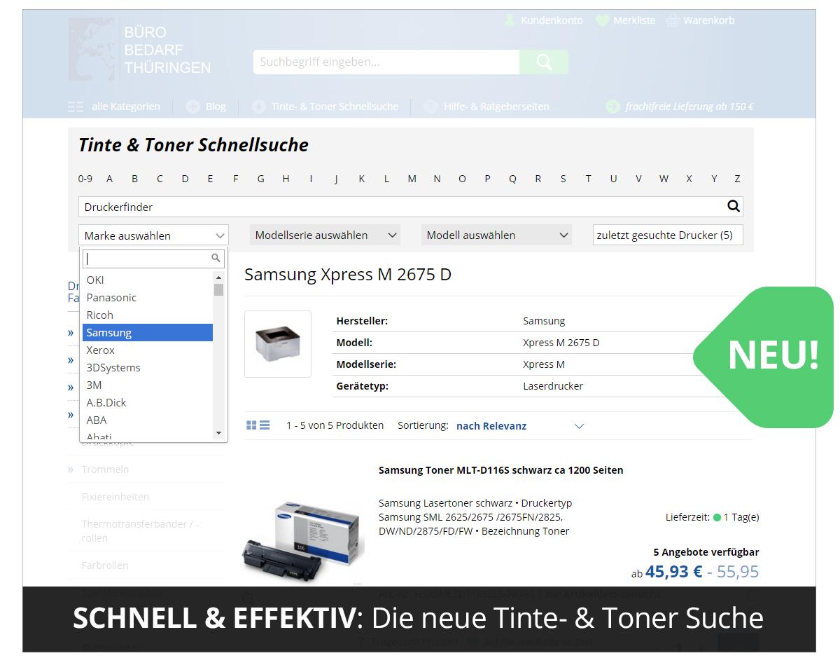 Tinte- & Toner Schnellsuche