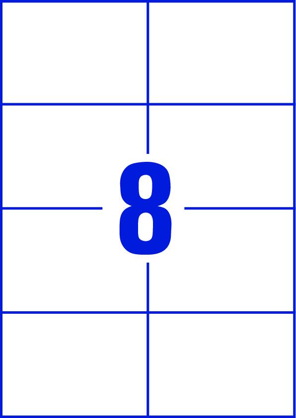Etikettenbogen mit 2-mal-4-Stanze