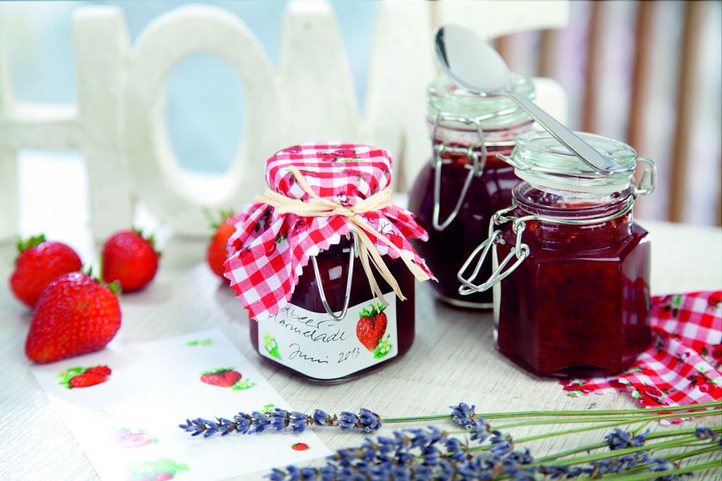 Etikett auf Marmeladenglas