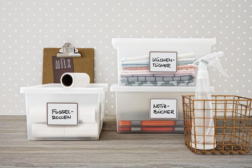 Etiketten auf Sammelboxen