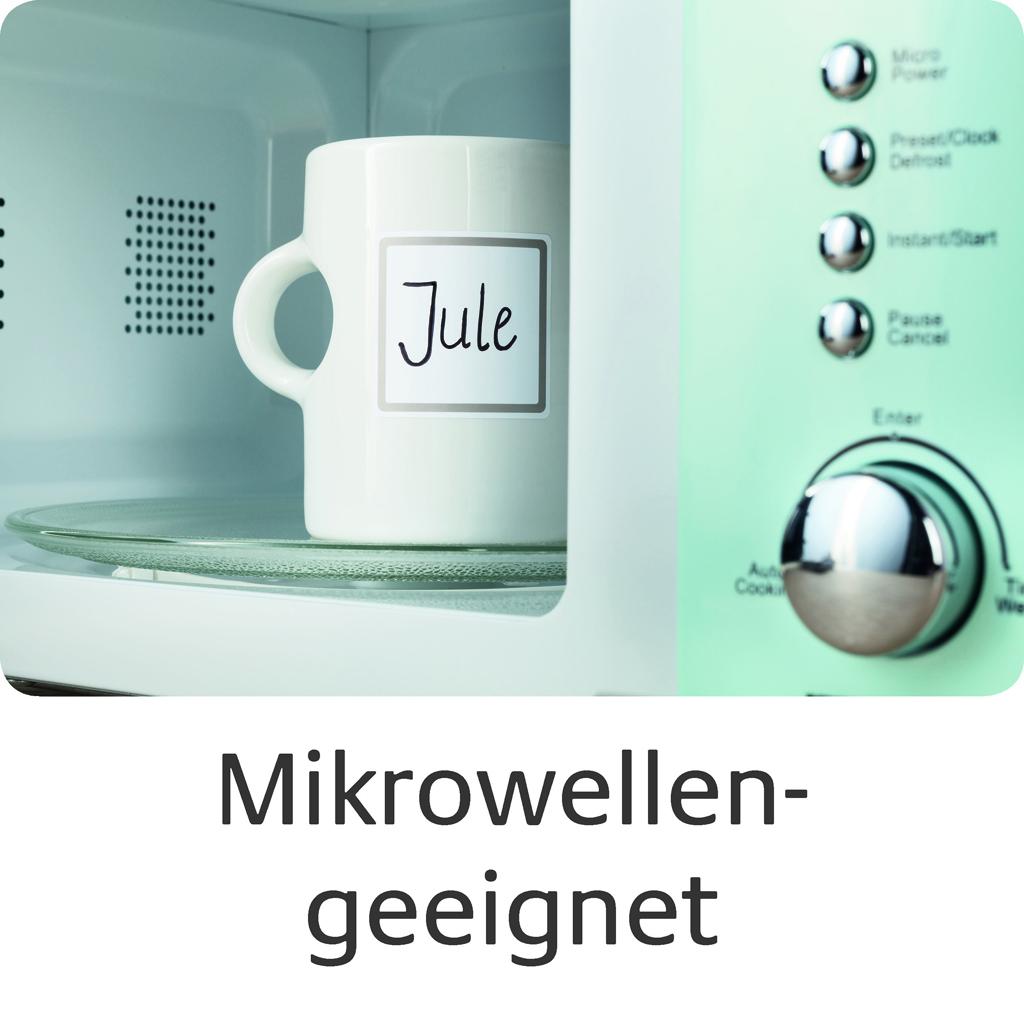 Etikett in der Mikrowelle