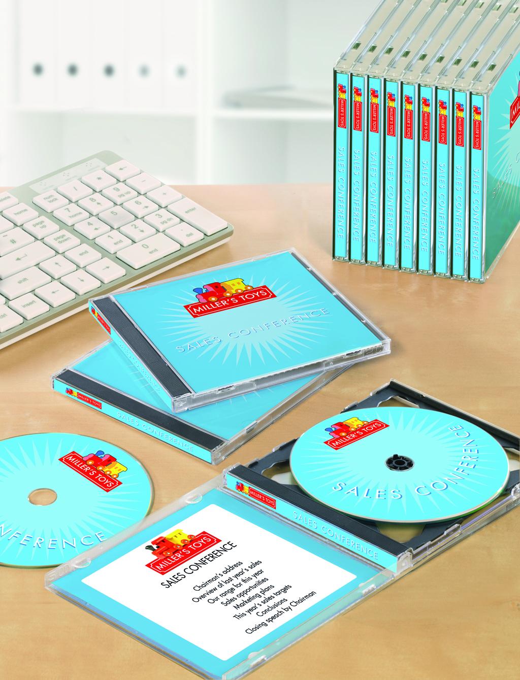 Etiketten und Einlagen für CDs und DVDs