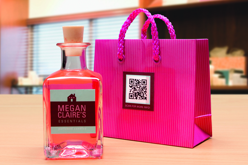 QR-Etikett und Flaschenaufkleber