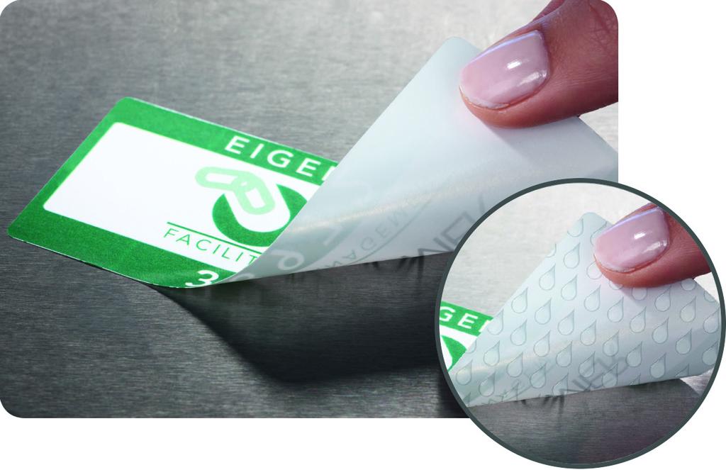 Etikett auf Metalloberfläche