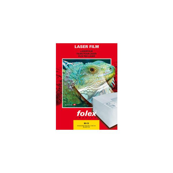 Folex Kopierfolie BG-72 2972012544100, A4, für S/W-Laserdrucker, Farb-Laserdrucker, S/W-Kopierer, Farb-Kopierer, 0,125mm, Overhead-Fo