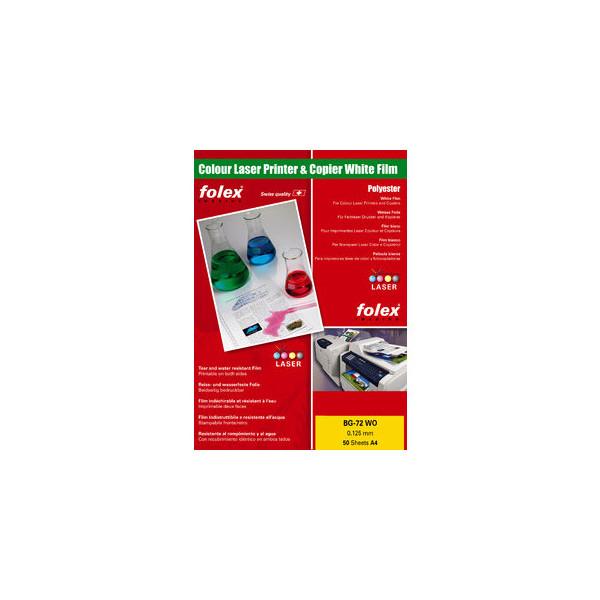Folex Kopierfolie BG-72WO 29729.125.44100, A4, für S/W-Laserdrucker, Farb-Laserdrucker, S/W-Kopierer, Farb-Kopierer, 0,125mm, weiß g