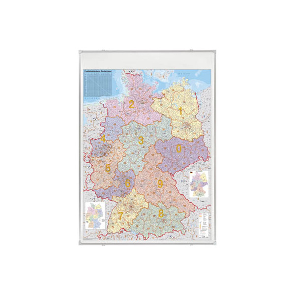 Franken Postleitzahlenkarte Deutschland 1:750000 98x138cm pinnbar