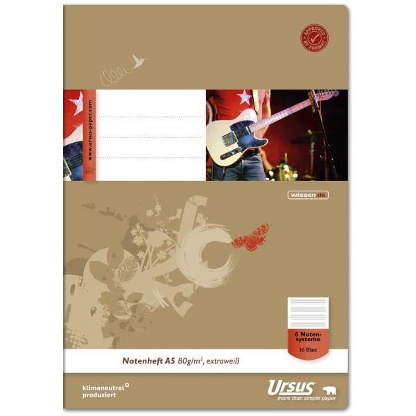 ursus Musikheft Basic A5 Notenlinien weiß 16 Blatt 040516014