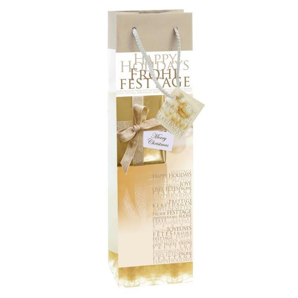 sigel Geschenktragetasche für 1 Flasche Golden Shimmer gold Motiv 10x8x35cm