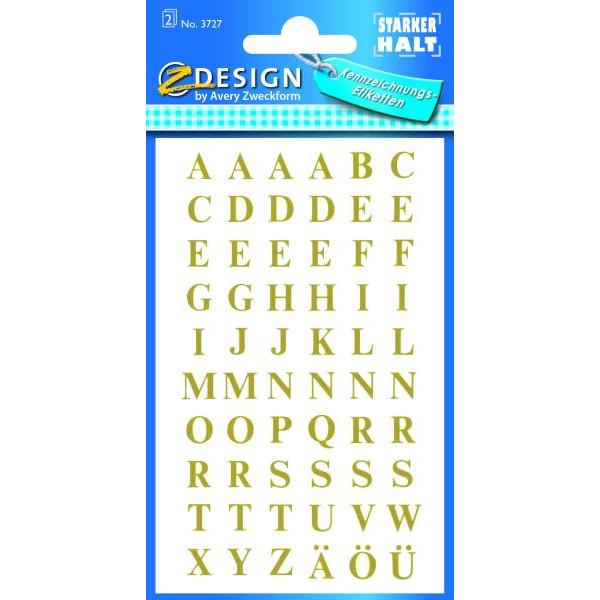 Zweckform 3727 Buchstaben 7,5 mm Gold Folie 2Bg 120 Stück