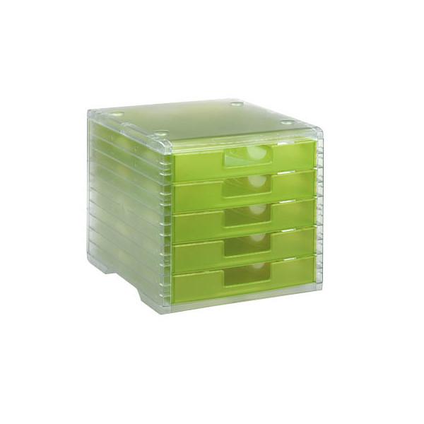 Styro Schubladenbox Lightbox 275-8419.524 transparent/kiwi-transparent 5 Schubladen geschlossen