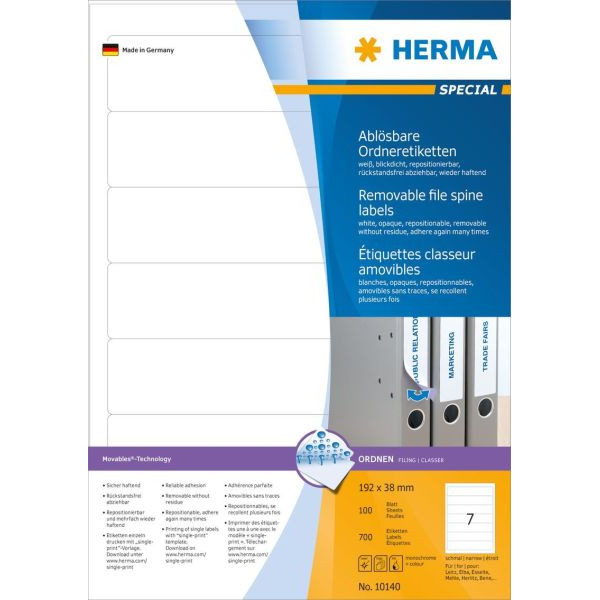 HERMA MOVABLES A4 192x38mm weiß 700 St