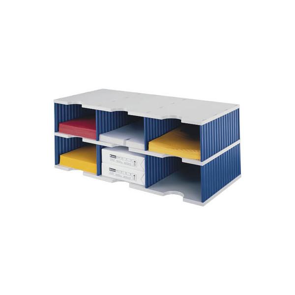 Styro Sortierstation doc Jumbo mit 6 Fächern C4 grau/blau Grundeinheit