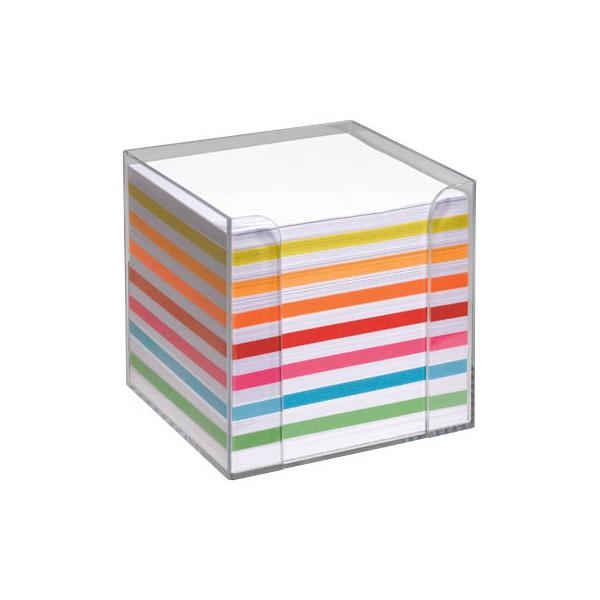 folia Notizzettel-Box glasklar mit 700 lose Notizzettel weiß/farbig sortiert