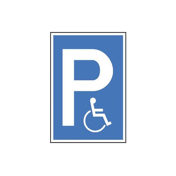 Parkplatzschild Symbol P, Symbol Rollstuhlfahrer blau/weiß