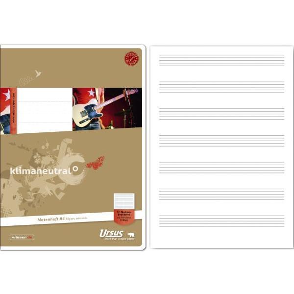 Ursus Musikheft Basic A4 Notenlinien mit Hilfslinien weiss 8 Blatt