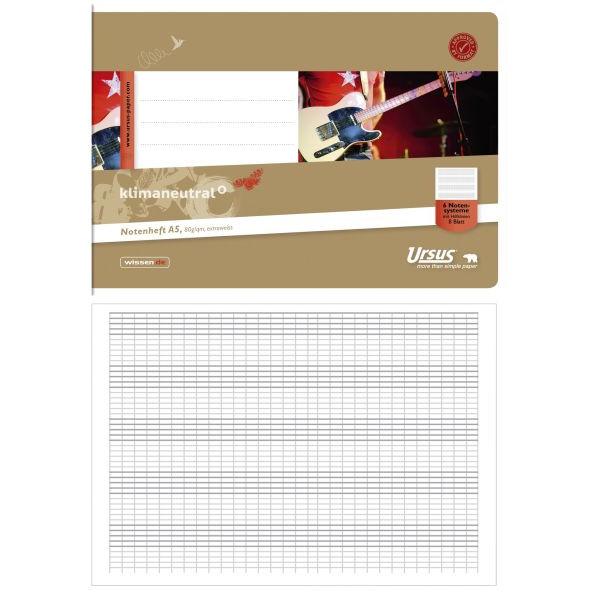 ursus Musikheft Basic A5 quer Notenlinien mit Hilfslinien weiß 8 Blatt