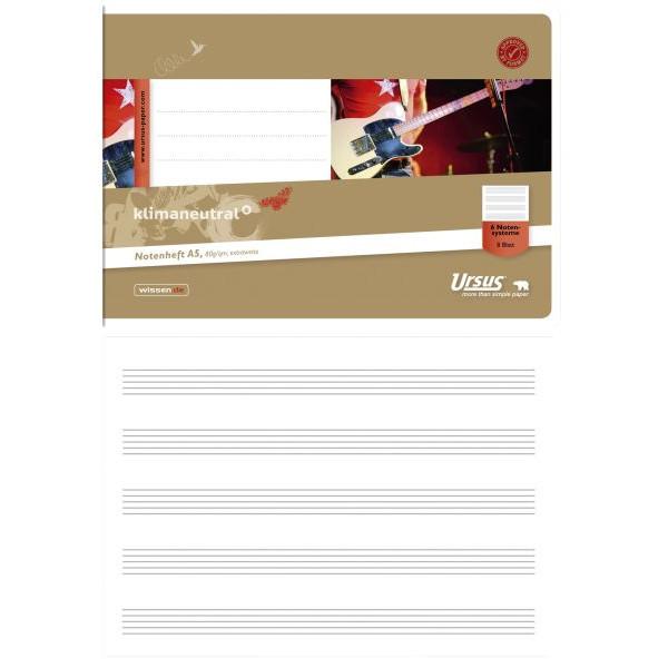 ursus Musikheft Basic A5 quer Notenlinien weiss 8 Blatt