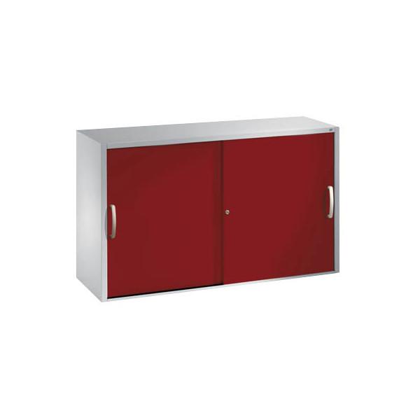 CP Aktenschrank 2045-00, Stahl abschliessbar, 2 OH, 120 x 79 x 40 cm, rot/lichtgrau
