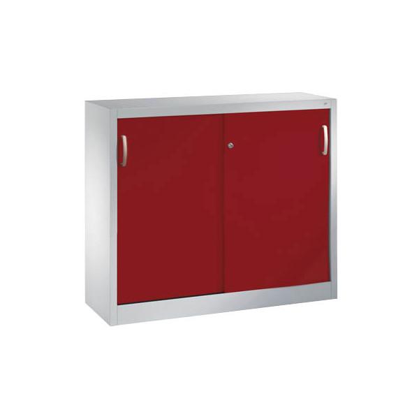 CP Aktenschrank 2046-00, Stahl abschliessbar, 2 OH, 120 x 97,5 x 40 cm, rot/lichtgrau
