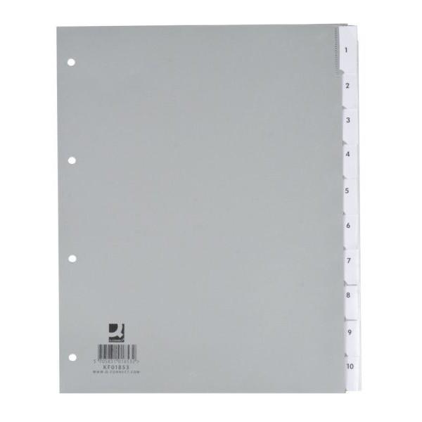 Q-CONNECT Register blanko A4+ 0,12mm graue Taben 10-teilig Fenstertabe