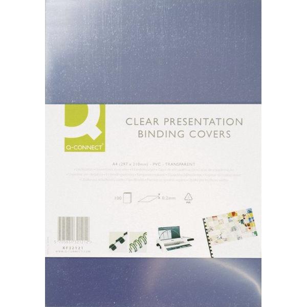 Q-CONNECT Umschlagfolien KF24011 A4 PVC 0,25 mm transparent kristallklar 100 Stück