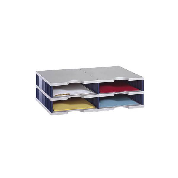 Styro Sortierstation doc mit 4 Fächern C4 grau/blau