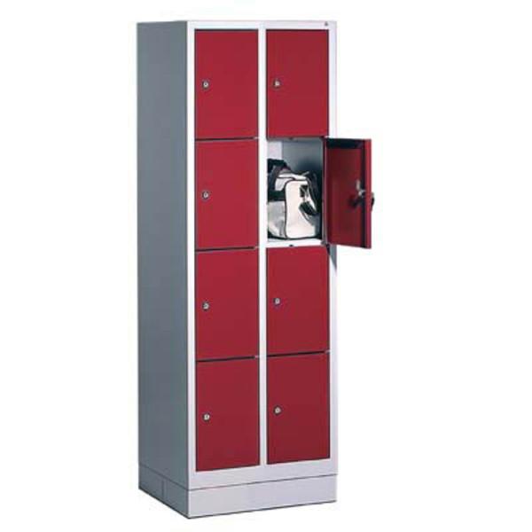 CP Schließfachschrank 8020-204, Metall, 2 Abteile mit 8 Fächern, abschließbar, 61x180cm (BxH), rot