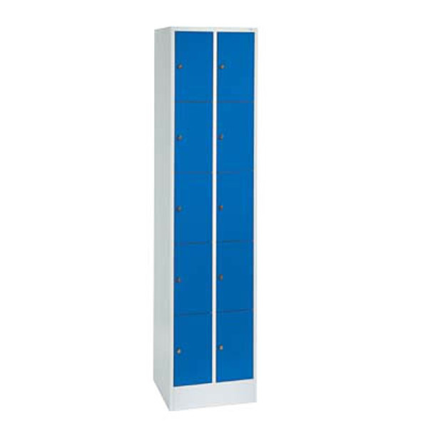 CP Schließfachschrank 80700-20, Metall, 2 Abteile mit 10 Fächern, abschließbar, 46x195cm (BxH), blau