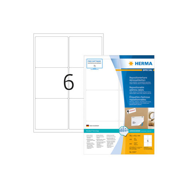Herma Wiederablösbare Etiketten Nr. 10317 99,1 x 93,1 mm