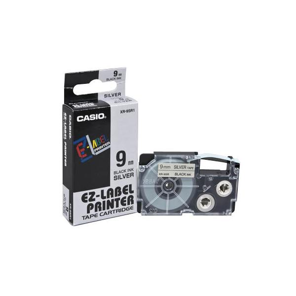 Casio Beschriftungsband XR-9SR schwarz auf silber Plastik 9mm