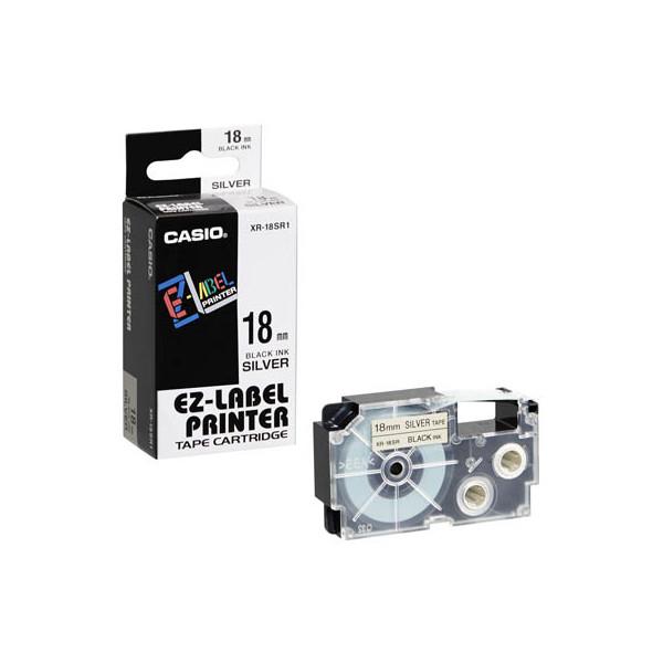 Casio Beschriftungsband XR-18SR schwarz auf silber Plastik 18mm