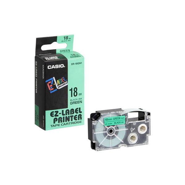 Casio Beschriftungsband XR-18GN schwarz auf grün Plastik 18mm