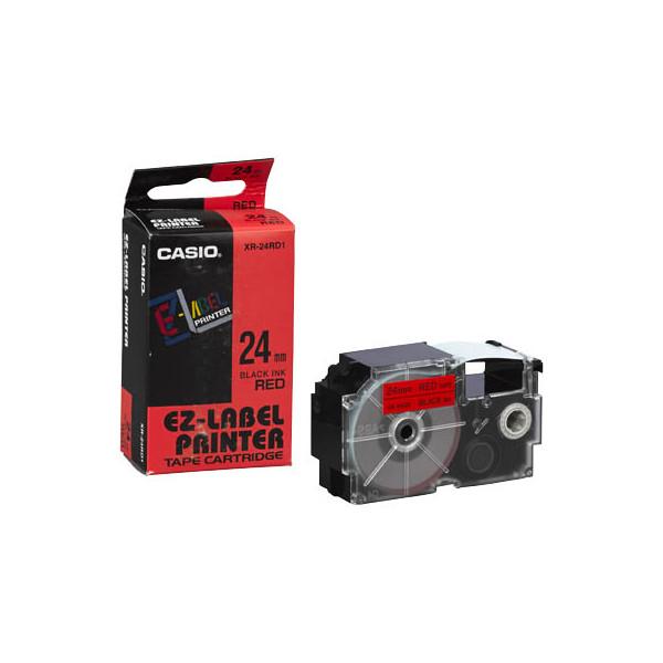 Casio Beschriftungsband XR-24RD schwarz auf rot Plastik 24mm
