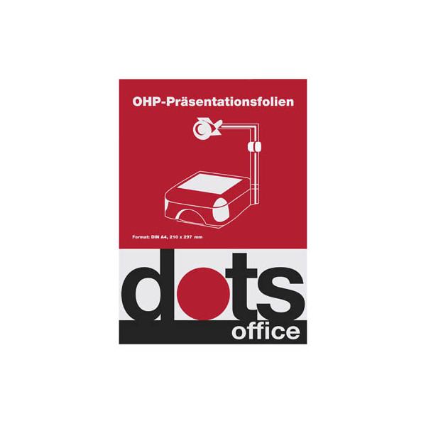 Dots Kopierfolie DOTSOHP125, A4, für S/W-Laserdrucker, Farb-Laserdrucker, S/W-Kopierer, Farb-Kopierer, 0,12mm, Overhead-Folie, trans