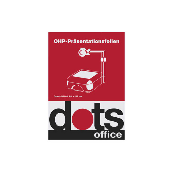 Dots Inkjetfolie DOTSOHPINKS, A4, für Inkjetdrucker, 0,1mm, Overhead-Folie, transparent glasklar, 50 Blatt