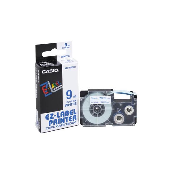 Casio Beschriftungsband XR-9WEB 9 mm blau auf weiß Plastik