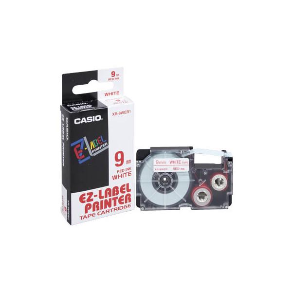 Casio Beschriftungsband XR-9WER rot auf weiß Plastik 9mm