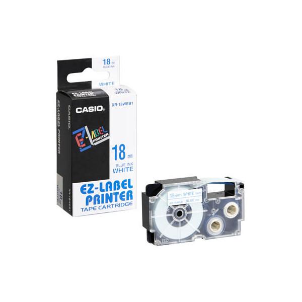 Casio Beschriftungsband XR-18WEB blau auf weiß Plastik 18mm