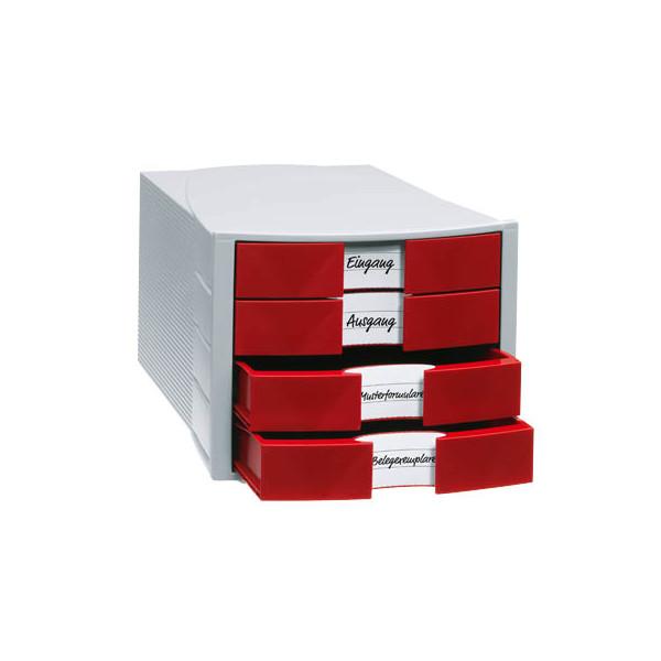 Han Schubladenbox Impuls 1010-17 lichtgrau/rot 4 Schubladen geschlossen