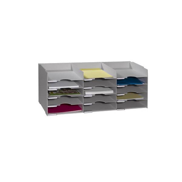 Paperflow Sortierstation mit 15 Fächern A4+ lichtgrau