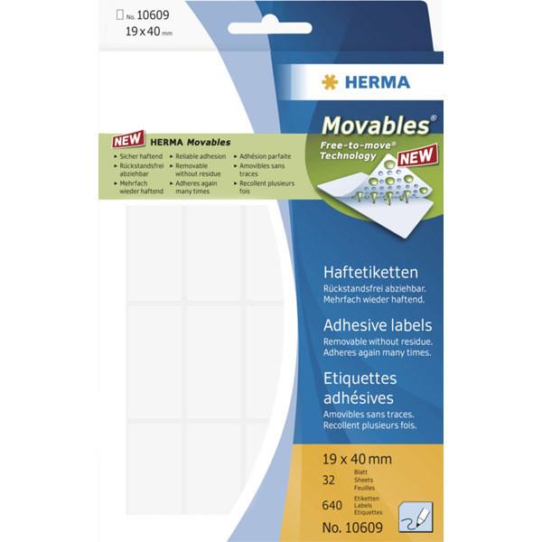 HERMA Haftetiketten Movables/10609 19 x 40 mm weiß Inh.640