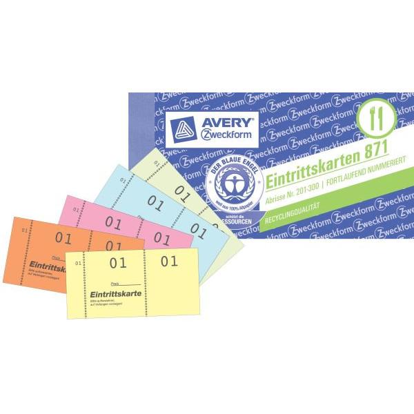 Zweckform Eintrittskarten/871 105x53 mm sortiert 01-500 Inh.5x 100 Blatt