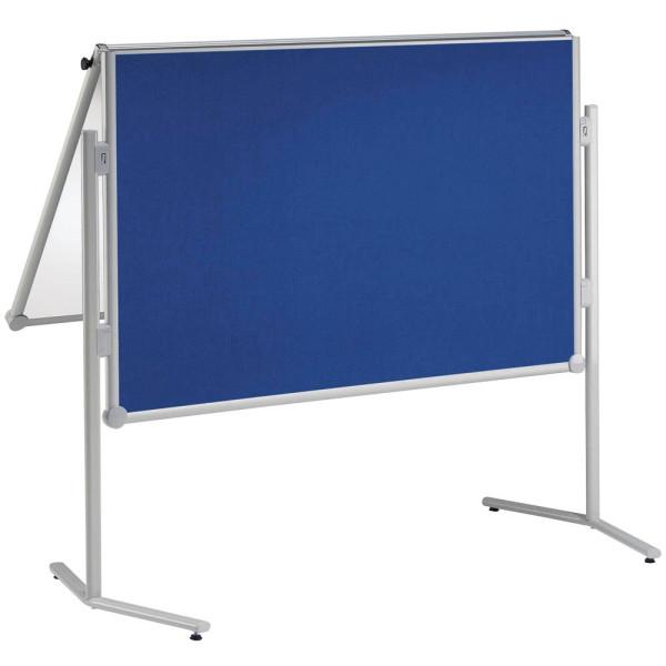 Maul Moderationswand professionell, klappbar Textil blau Weißwandtafel + Gratis Moderations-Set